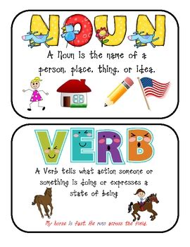 printable noun poster parts of speech printable posters noun verb adjective