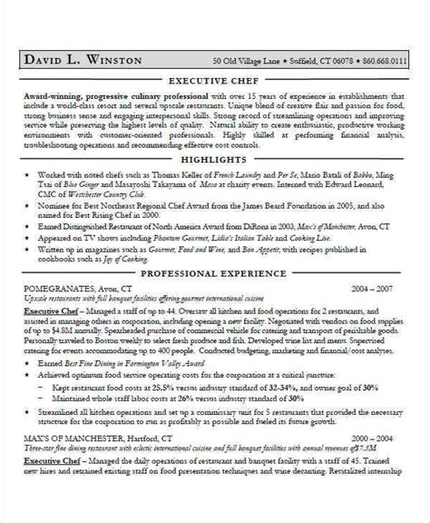 executive chef resume sles 35 free executive resumes