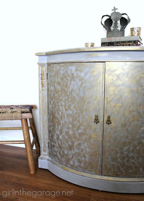 chalk paint grey cabinets gold and gray cabinet metallic themed furniture makeover