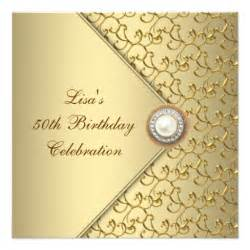 Female 50th birthday party invitations golden with pearl female 50th