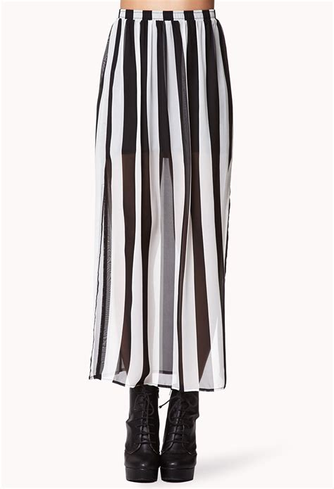 forever 21 vented striped maxi skirt in black black white