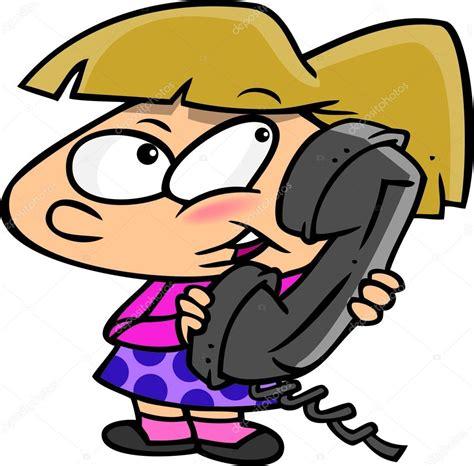 imagenes infantiles hablando chica de dibujos animados hablando por tel 233 fono vector