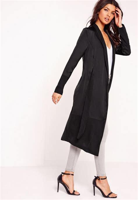 Sabiha Blazer With Maxi Satin satin chiffon maxi duster jacket black missguided