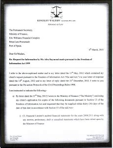 pre action protocol letter to ministry of finance pursuant