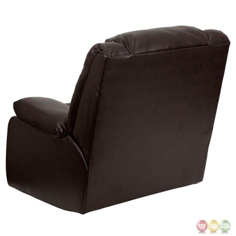 recliner lever plush brown leather lever rocker recliner with padded arms