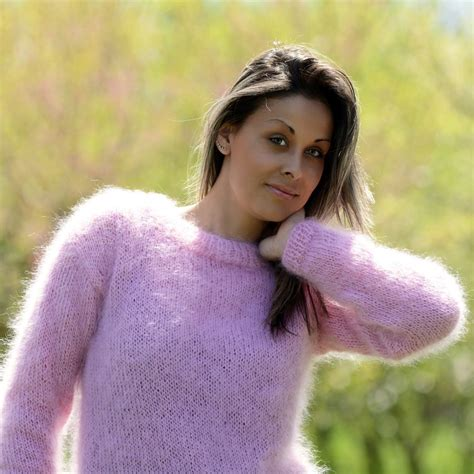 Sweater Pink List light pink knit mohair sweater by extravagantza