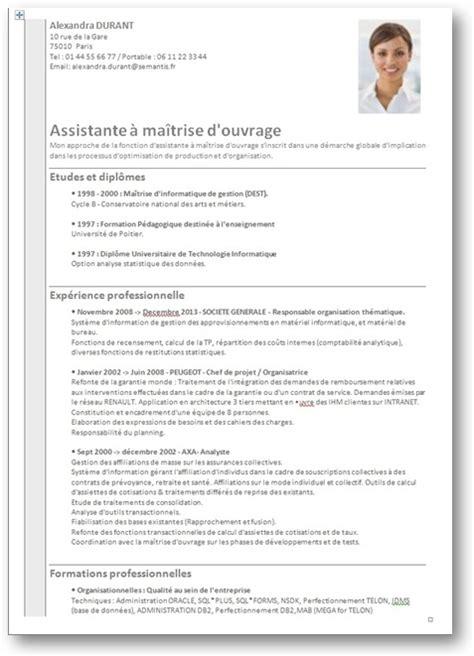 Exemple De Cv Word En Franàçais by Resume Format Mod 232 Le Cv Une Page