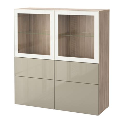 besta hochglanz beige best 197 storage combination w glass doors walnut effect