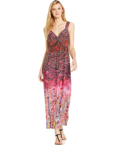 Front Ethnic Maxi spense twist front printed maxi dress in pink lyst