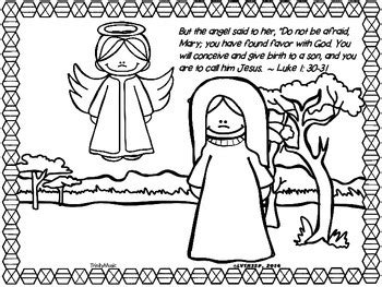 coloring page of angel visiting mary just in time for advent enjoy this coloring activity of