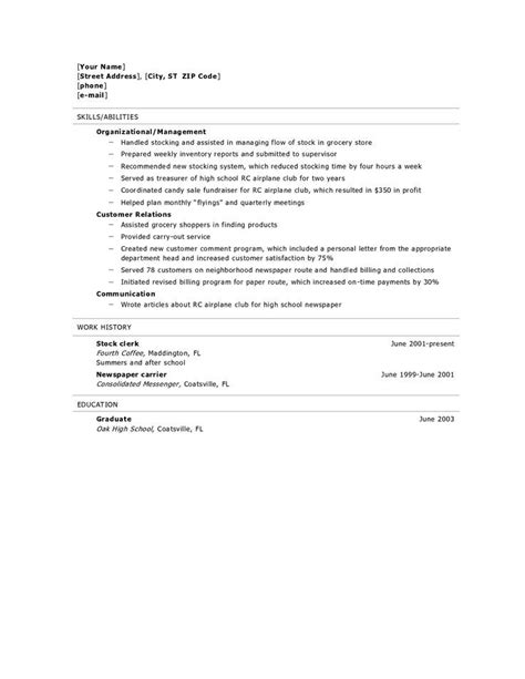 Resume Sle For School resume for high school graduate best resume collection
