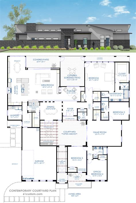 Modern House Blueprints Contemporary Courtyard House Plan 61custom Modern House Plans