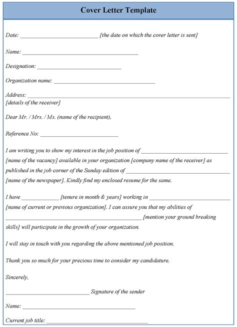 cover letter templets template for cover letter exles of cover letter