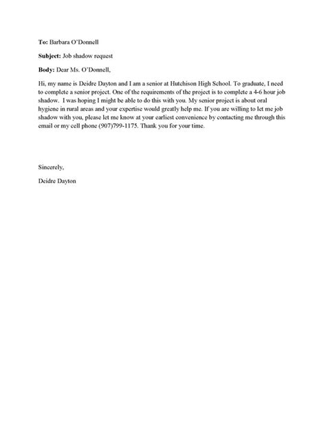 Reference Letter For Shadowing Communications Dayton S Senior Project