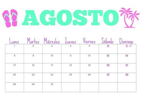 Calendario Mes De Agosto Organiza T Calendario De Agosto Gratis Para Descargar