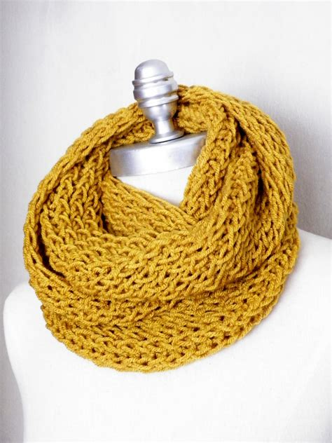 mustard scarf knit infinity scarf gold mustard by