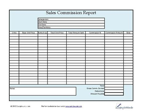 Sales Commission Worksheet by Report Printable Forms Templates Sles