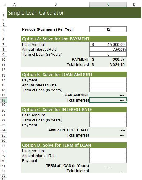 Simple Loan Calculator Excel Templates For Every Purpose Loan Spreadsheet Template