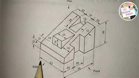 draw orthographic projection  hindi iti drawing