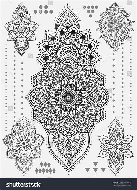 mandala tattoo long mandala set other elements vector mandala stock vector
