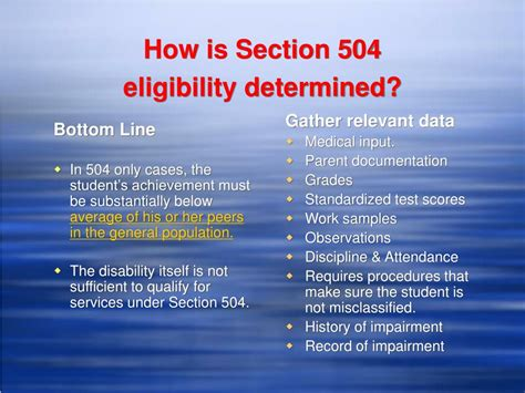 section 504 eligibility ppt section 504 powerpoint presentation id 392357