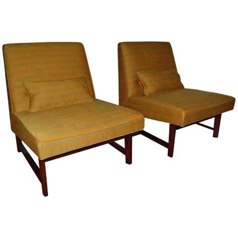 green slipper chair green striped slipper chair pair by dunbar for sale at 1stdibs