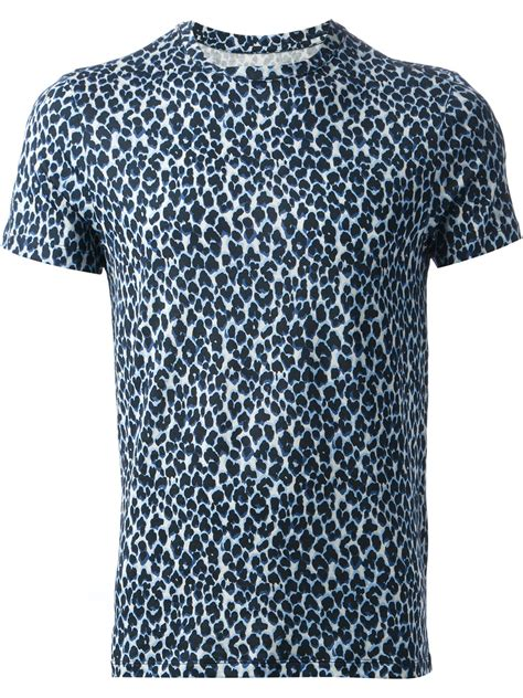 lyst moncler leopard print t shirt in blue for
