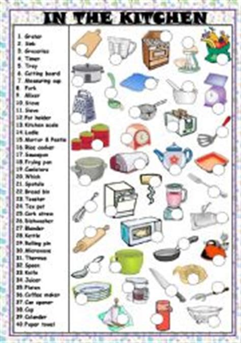 Kitchen Utensils Worksheet Pdf by In The Kitchen Utensils And Appliances Key And B W