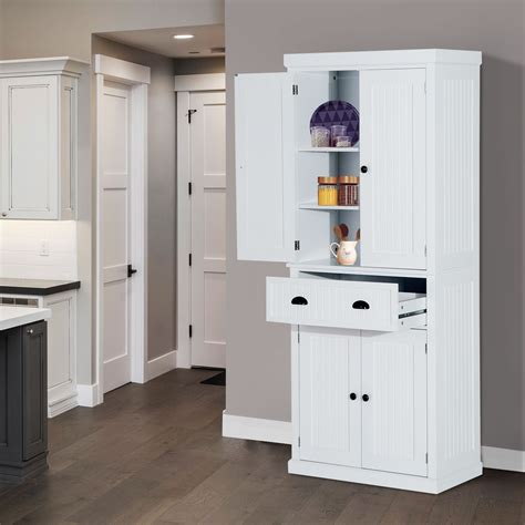 wood pantry cabinet for kitchen homcom 72inch wood kitchen pantry cabinet tall storage