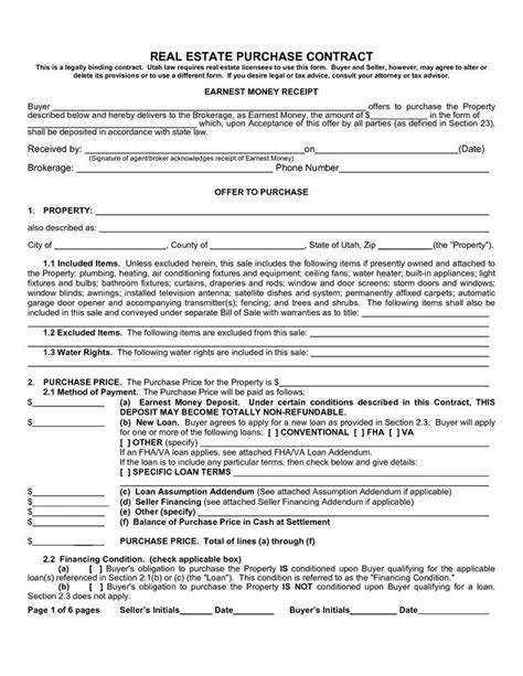 real estate purchase agreement template template design