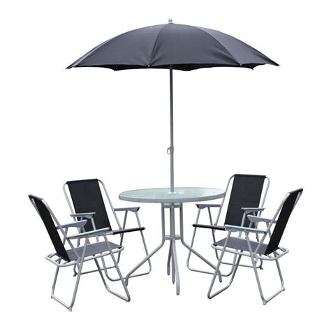 Patio Table Parasol Garden Table Chair Set Glass Top 4 Folding Arm Chairs Black Parasol Patio Ebay