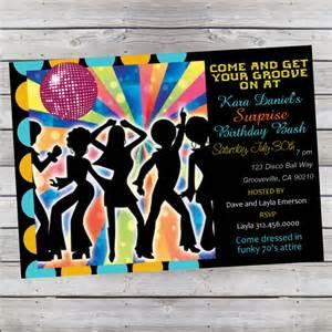 cool retro 70 s disco birthday invitation or child