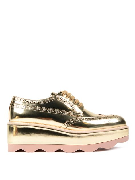 metallic leather platform shoes by prada lace ups shoes