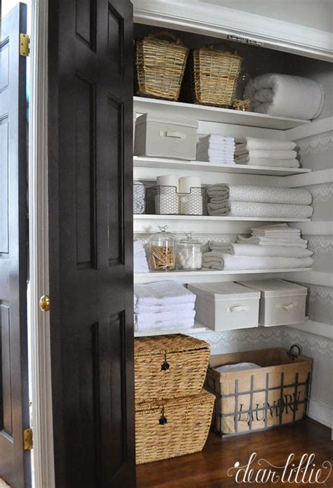 shallow linen closet organization storage ideas pinterest 20 beautifully organized linen closets the happy housie