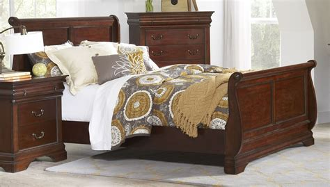 chateau vintage cherry youth sleigh bedroom set from largo