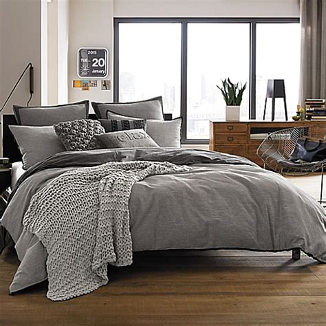 kenneth cole reaction home oxford comforter in grey stripe
