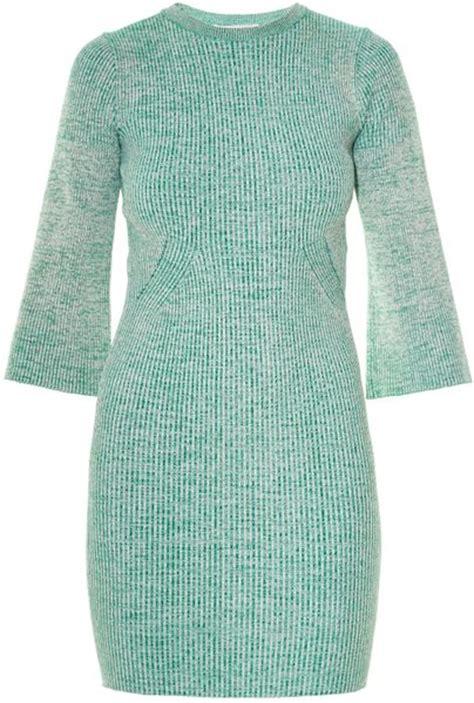 Knit Greenlight stella mccartney bell sleeve melange knit dress in green
