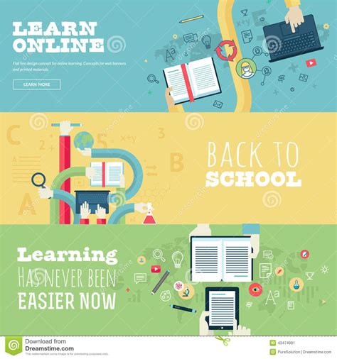 design your dream school online set of flat design concepts for education online stock