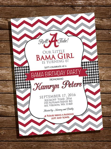 Alabama Wedding Invitations Printed by Alabama Bama Birthday Invitation Roll Tide Printed And