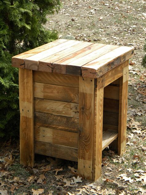 Rustic Bedroom End Tables Pallet Stand Reclaimed Pallet Wood End Table