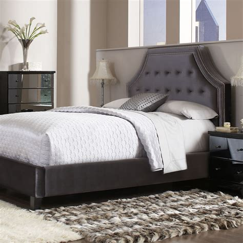 Grey Upholstered Headboard Standard Furniture Parisian Upholstered Headboard In Grey Velvet Beyond Stores