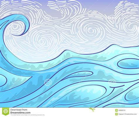 simple sketches sketches and waves on draw illustration of sea wave on windy sky background