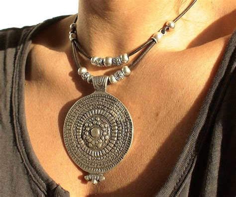 Via S Handcrafted Jewelry - tribal brown leather necklace with silver 23