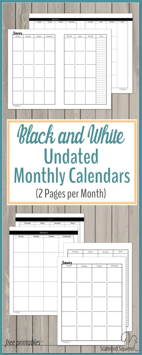 printable undated planner pages undated black and white calendars featuring two pages per