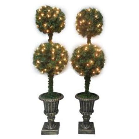 lighted topiary set of 2 48 quot artificial entryway lighted tree 44 98 or