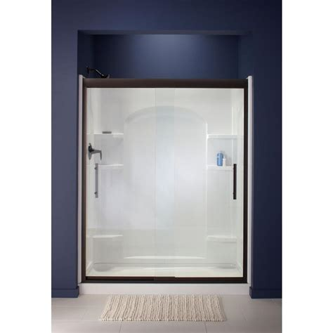 Sterling Glass Shower Doors Sterling Finesse 59 5 8 In X 55 1 2 In Heavy Sliding Shower Door In Bronze With Clear