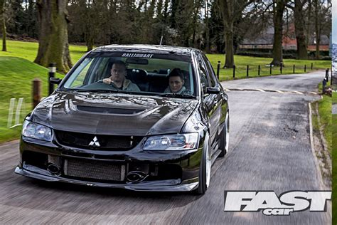 mitsubishi evo and black modified mitsubishi evo ix fq360 fast car