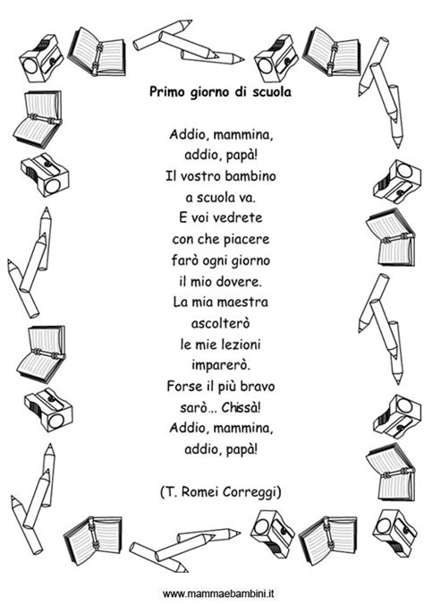 testo il giorno dei giorni raccolta poesie sul primo giorno di scuola mamma e bambini