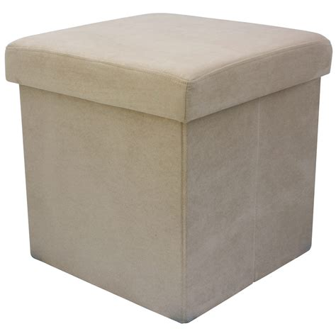 ottoman with seating 38cm folding storage pouffe cube foot stool seat ottoman
