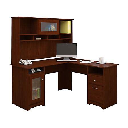 bush furniture cabot l shaped desk bush furniture cabot l shaped desk with hutch harvest